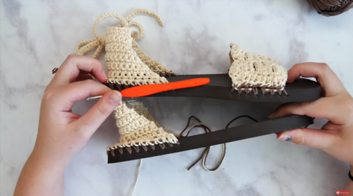 Tutorial And Free Pattern To Crochet Sandals With Flip Flop Soles