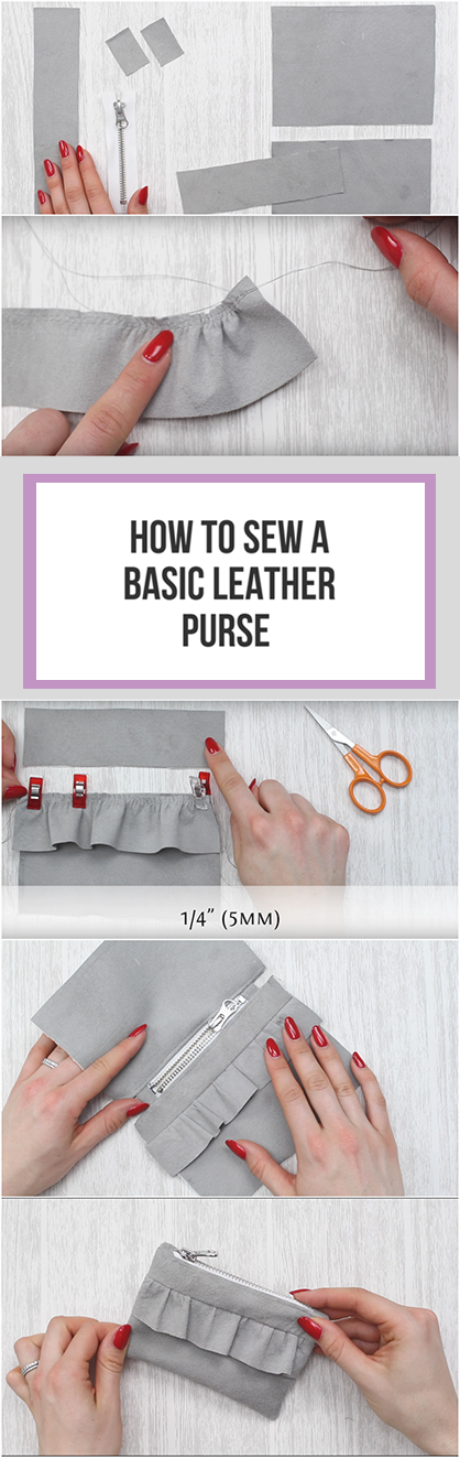 DIY leather frill purse