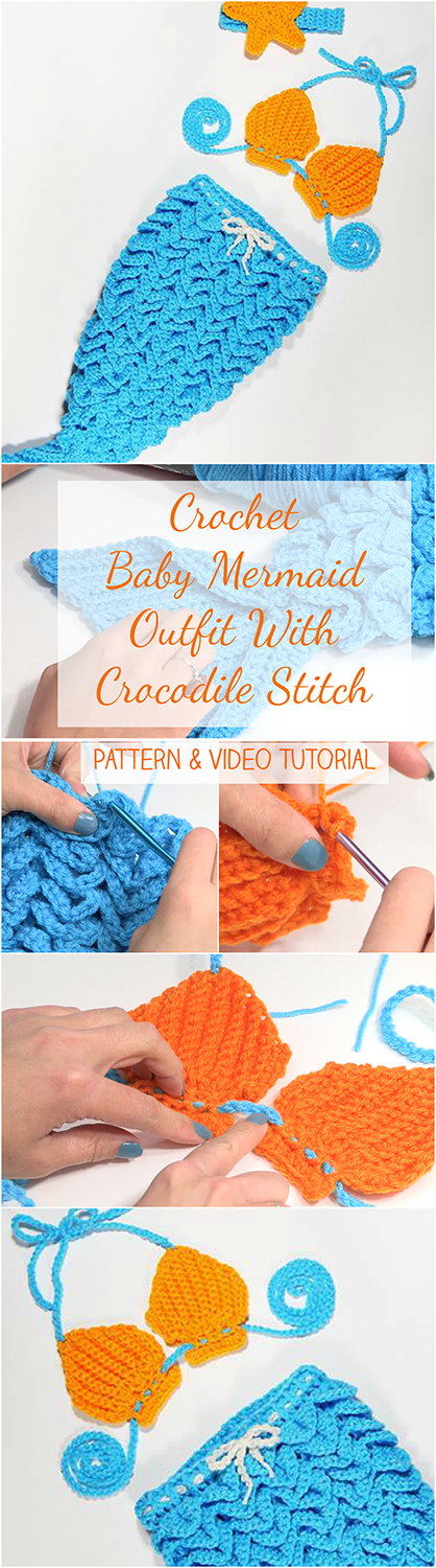 Crochet Baby Mermaid Outfit With Crocodile Stitch Pattern Video