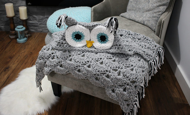 Crochet Shells & V Stitch Hooded Owl Blanket