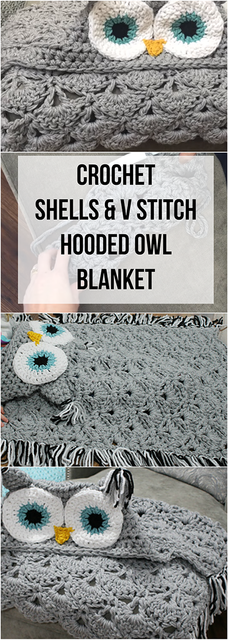 Crochet Shells V Stitch Hooded Owl Blanket Tutorial Video