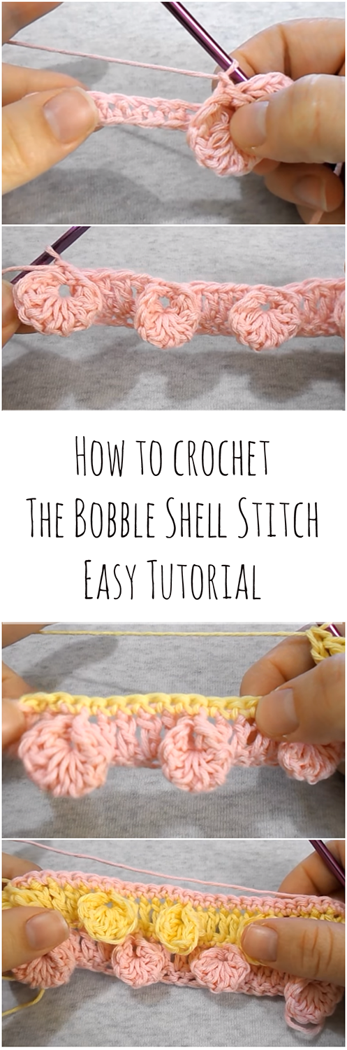 How to crochet The Bobble Shell Stitch Easy Tutorial