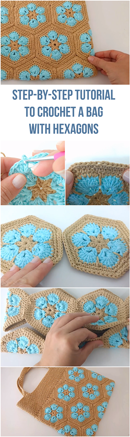 Step-By-Step Tutorial To Crochet A Bag With Hexagons