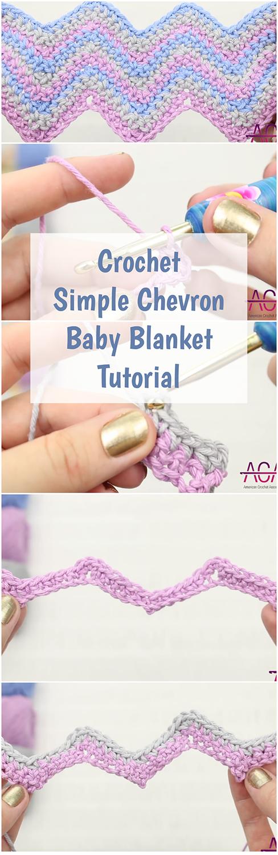 Crochet Simple Chevron Baby Blanket Tutorial