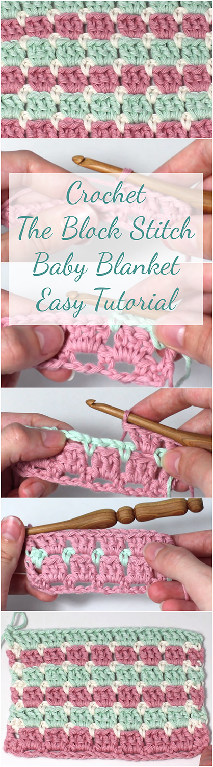 Crochet The Block Stitch Baby Blanket Easy Tutorial Free Video Guide