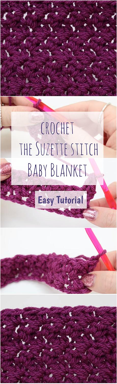 Crochet The Suzette Stitch Baby Blanket Easy Tutorial