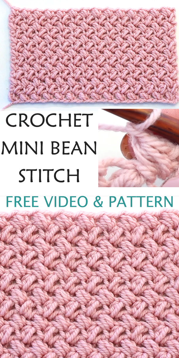 Crochet The Mini Bean Stitch - Easy Video Tutorial + Free Pattern