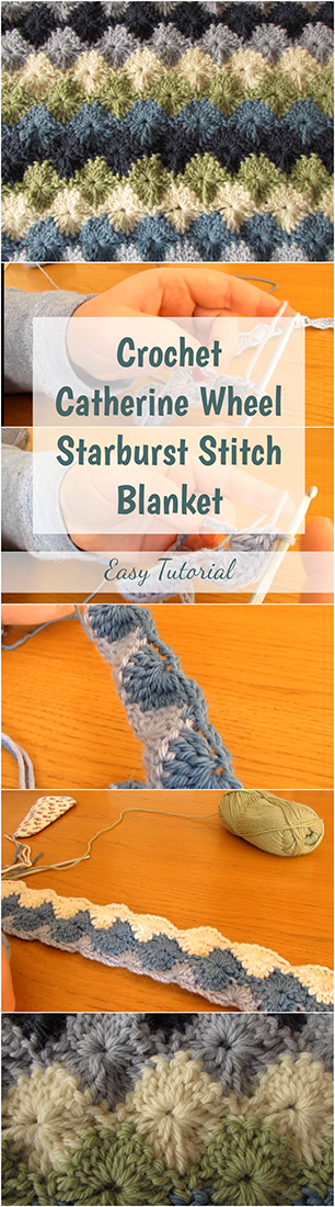 Crochet Catherine Wheel Starburst Stitch Blanket Easy Tutorial