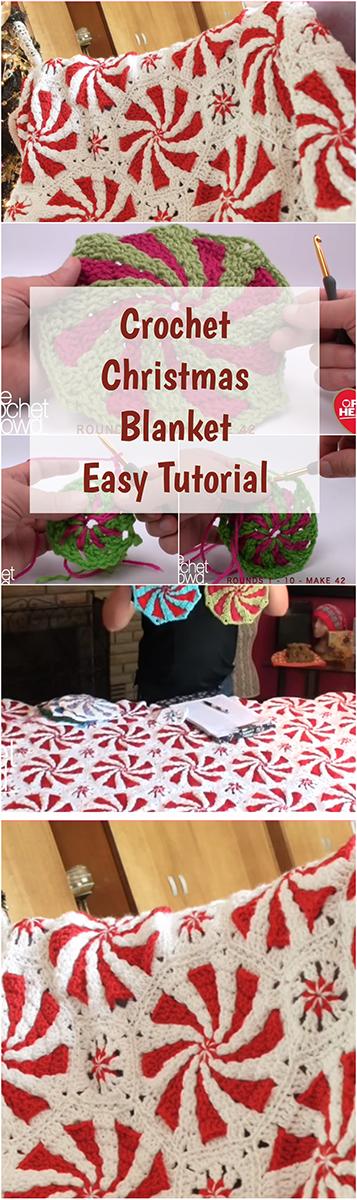 Crochet Christmas Blanket Easy Tutorial