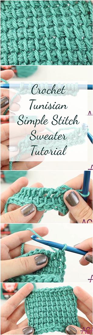 Crochet Tunisian Simple Stitch Sweater Tutorial