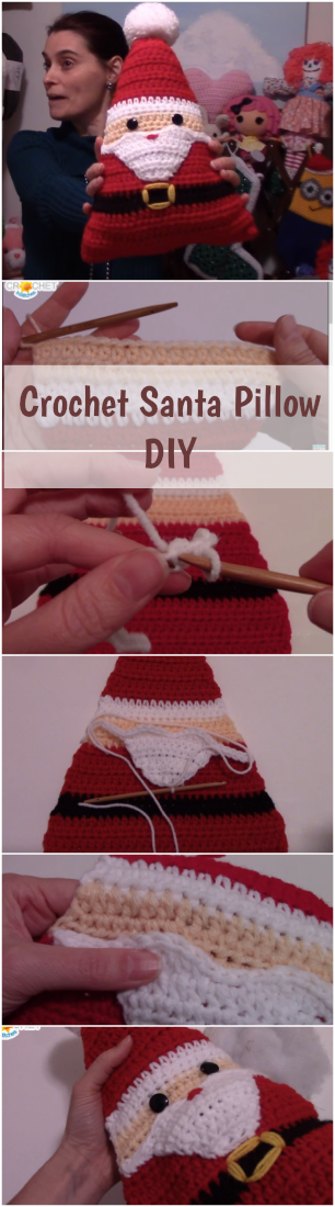 Crochet Santa Pillow DIY