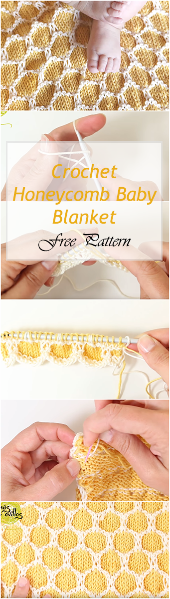 Crochet Honeycomb Baby Blanket - Easy Stitch Tutorial + Free Pattern