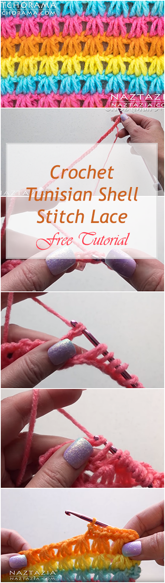 Crochet Tunisian Shell Stitch Lace - Easy Step by step tutorial + Video