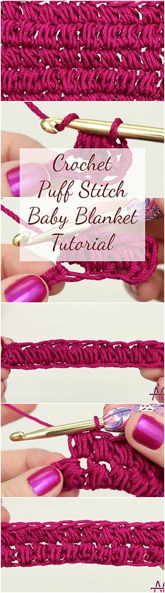 Crochet Puff Stitch Baby Blanket - Easy Tutorial