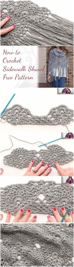 How to Crochet Sidewalk Shawl – Free Pattern + Easy Video Tutorial