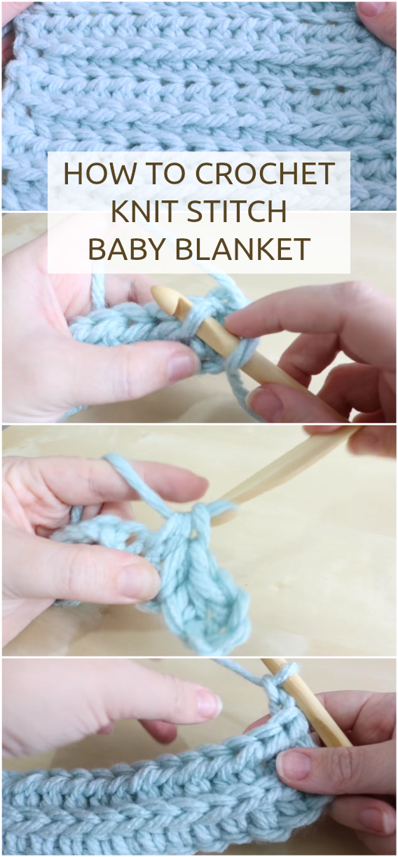 How To Crochet The Knit Stitch - Easy Video Tutorial To Crochet Free DIY Projects Like Baby Blanket Etc.