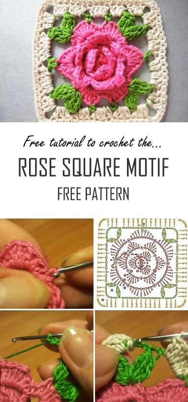 Crochet Rose Square Motif | Free Pattern & Video Guide For Beginners